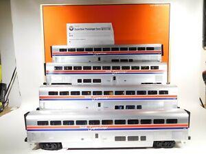 Lionel-O-Gauge-Amtrak-Superliner-Aluminum-Passenger-Car-Four-Pack-6-39124-C-129
