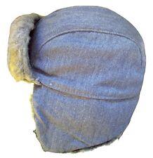 Hatters Cap Vintage Blue Denim Faux Grey Fur Hat Medium USA Made Aviator Ushanka