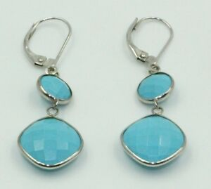 Reconstituted-Turquoise-7-mm-amp-12-mm-Dangle-Earrings-14K-White-Gold-Lever-Backs