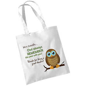 Personalised Tote Bag Teacher Day Graduation Thank You Owl Pink Shopping Cotton