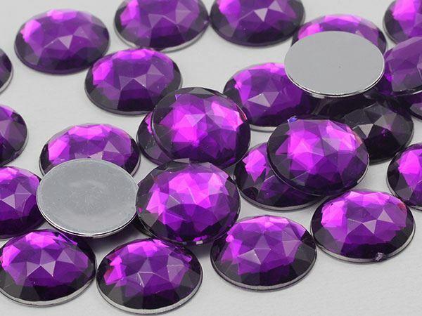 25x18mm Purple Amethyst A06 Flat Back Acrylic Oval Cabochon 20PCS