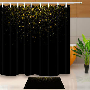 Image Is Loading Gold Stars On Black 70 Inch Bathroom