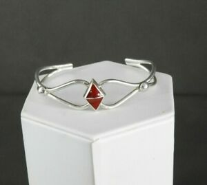 Vintage-Mexico-Bracelet-Cuff-Inlay-Stone-Fancy-Solid-925-Sterling-Silver-6-75-034
