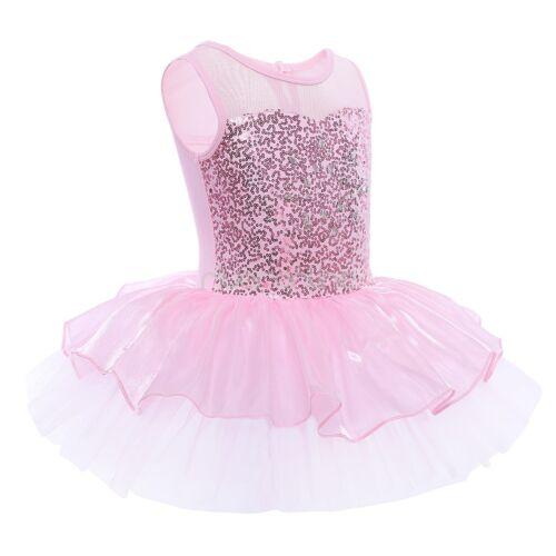 98-140 Ärmellos Ballettanzug Pallietten Ballettkleid Pink Blau für Mädchen Gr