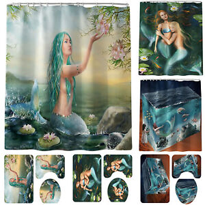 Bathroom-Mermaid-Printed-Non-Slip-Rug-Lid-Toilet-Cover-Bath-Mat-Shower-Curtain