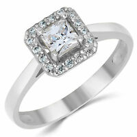 14k Solid White Gold Cz Cubic Zirconia Solitaire Halo Design Engagement Ring