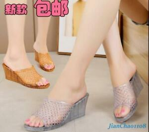 Details about Summer Womens Sandals Slippers Shoes Hollow Out Wedge Crystal Jelly Beach Casual