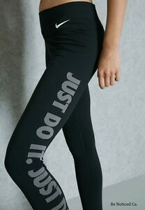 Nike-Women-039-s-Just-Do-It-Training-Tights-S-Black-White-Gym-Casual-Running-New
