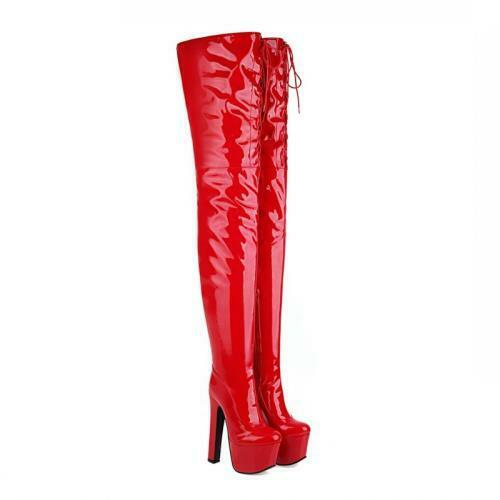 Details about  /17cm Super High Heel Platform Slouch Over The Knee Thigh Boots Nightclub 44//46 L
