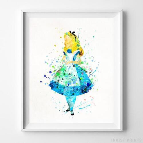 Alice in Wonderland Type 3 Wall Art Disney Watercolor Poster Home Decor UNFRAMED