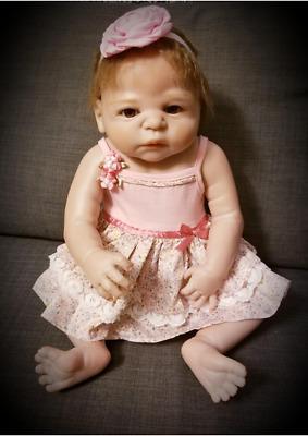 "Silicone Newborn Full Body Reborn Girls 23/"" Reborn Realistic Toddler Dolls Toys"