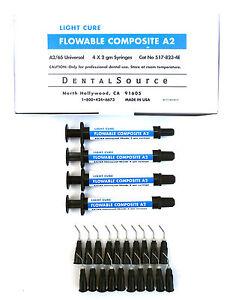Light-Cure-FLOWABLE-Composite-Dental-Supply-4-Syringe-Kit-Shade-A2