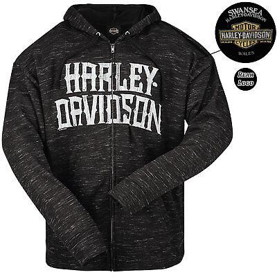 Harley Davidson Mens Name Blend Black Zip Hoodie Swansea Limited Edition