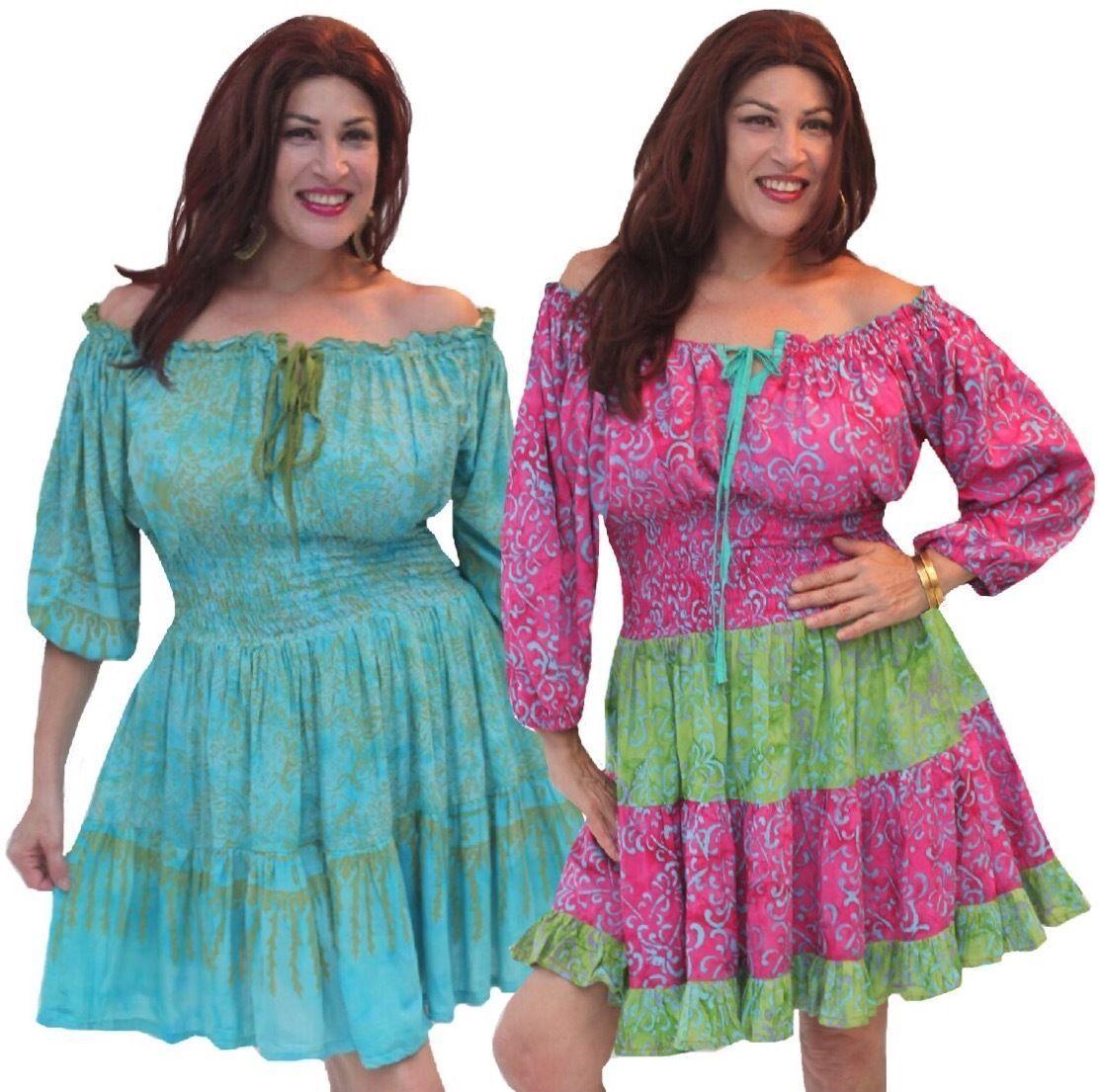 Pick Farbe mini dress blouse smocked tiers batik art OS M L XL 1X 2X