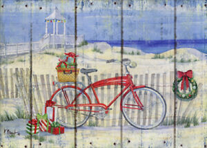 Red Bike Picket Fence At Beach Box Of 18 Paul Brent Coastal Christmas Cards Ebay