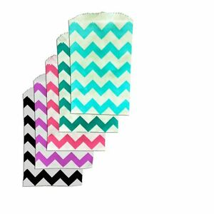 100 Mini Chevron 3x5 Inch Paper Bags, Goody Favor Bags, Colored Party Bags, New!