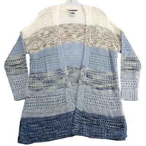 American Rag Women's Cardigan Sweater Medium Long Open Front Shrug Blue Stripes