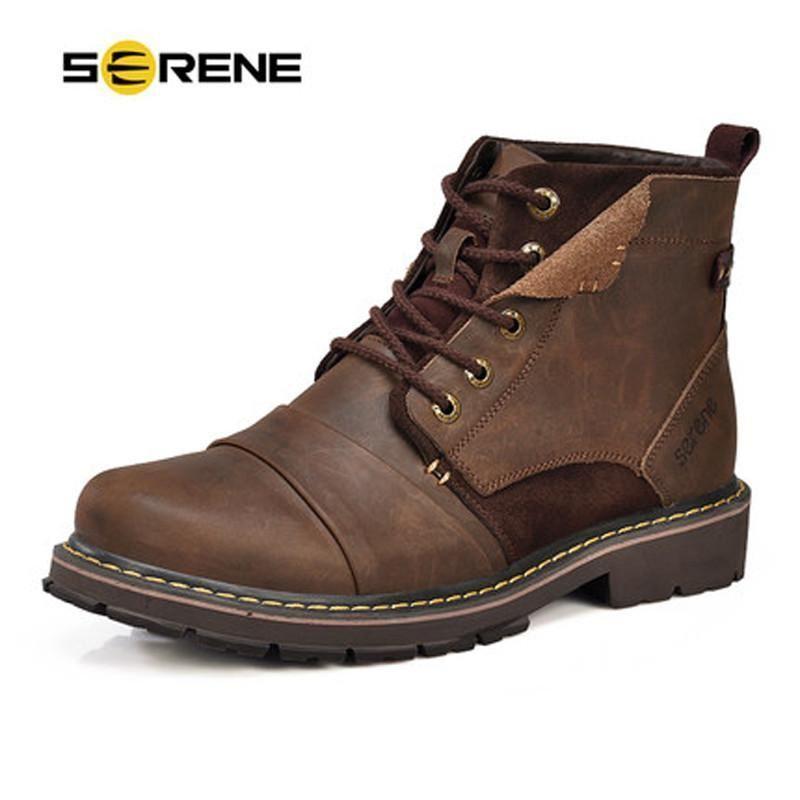 SERENE Brand Men Winter Boots Size 3545 Warmest Genuine Leather Russian style M