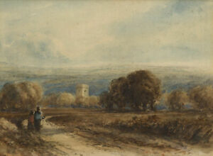 Attrib-David-Cox-OWS-Figures-on-Rural-Track-19th-century-watercolour-painting
