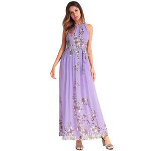 purchase cheap fdbd8 ae913 Dettagli su Elegante vestito abito donna lungo viola fiori maniche comodo  4324