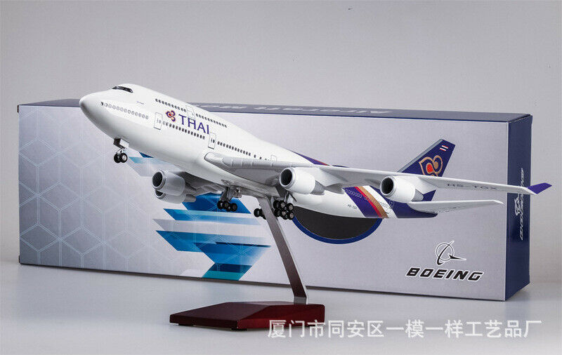 1 150 LED Light Bone 747 Airplane THAI Passenger Aircraft Model Toys Collection