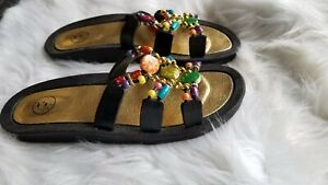 47a45e6fa1a Details about Women's Bahama Bay Black And Beaded Beach Sandals Flip Flops  Size 11