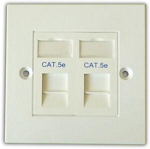 2-Way-Double-LAN-RJ45-Data-Gigabit-Ethernet-Network-Faceplate-amp-Cat5e-Module