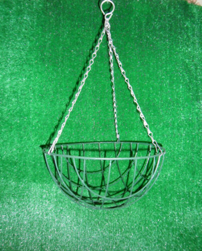 "4 X 16/"" WIRE HANGING BASKET 40CM ROUND BOTTOM BASKETS METAL PLANTER QUALITY"