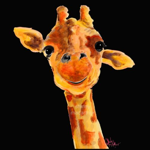 GIRAFFE PRINTS WaLL ART of Original Painting /'TOMMY/' oN BLACK  SHIRLEY MACARTHUR