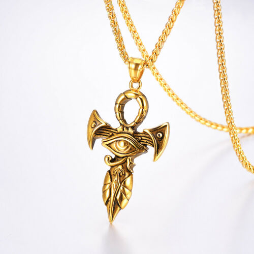U7 Eye of Horus Pendant Stainless Steel Lucky Protection Ra Eye Necklace for Men