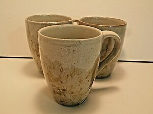 222-Fifth-Tranquility-Coffee-Mugs-Cups-Pale-Flowers-Brown-Stoneware-Lot-of-3