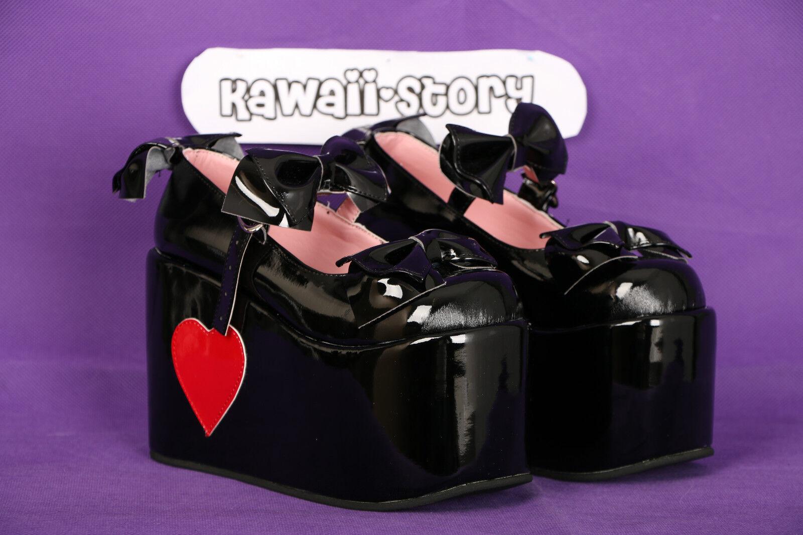 S-10 Gothic schwarz rot Punk Herz Gothic S-10 Lolita Pumps Lack Schuhe Schuhes Cosplay Japan d76225