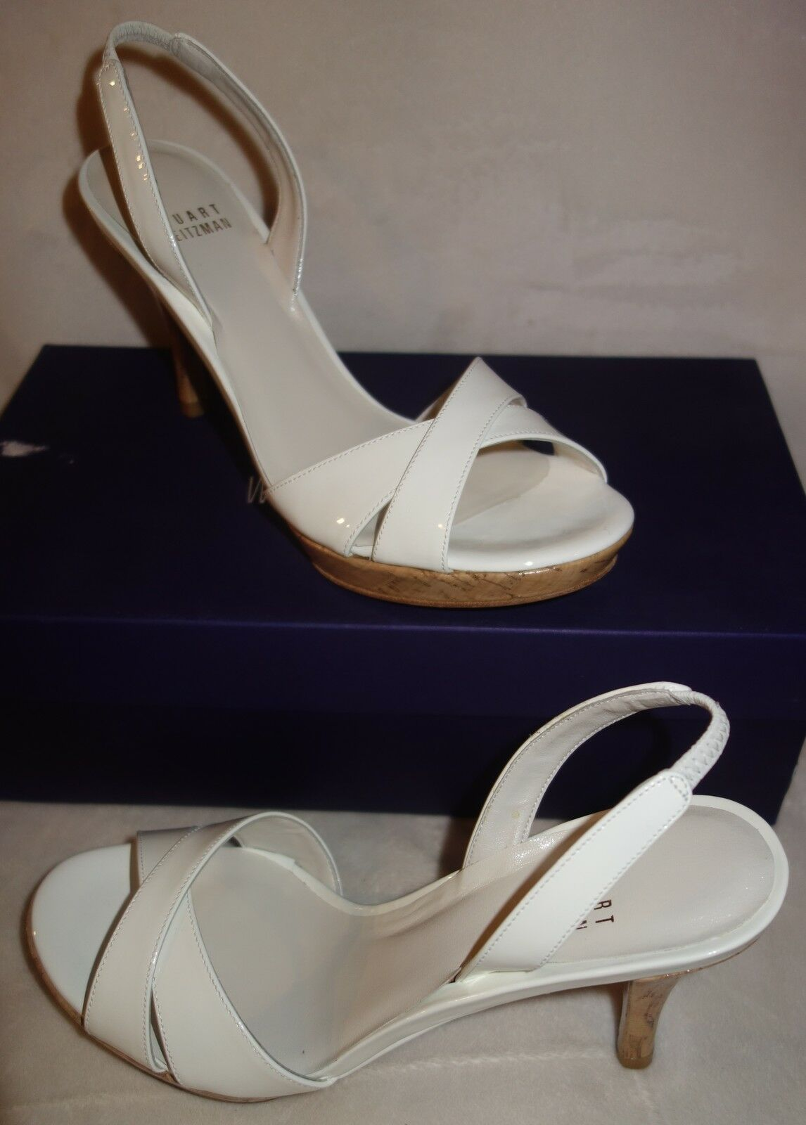 Stuart Weitzman Glorious white Patent Pelle Sandals sz 40 new