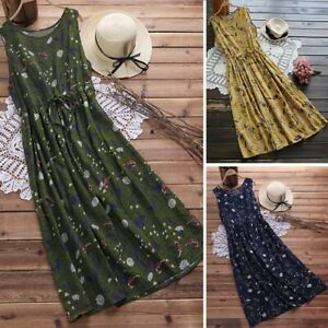 Women-Boho-Sleeveless-Floral-Printed-party-Long-Shirt-Vest-maxi-Dress-Plus-Size