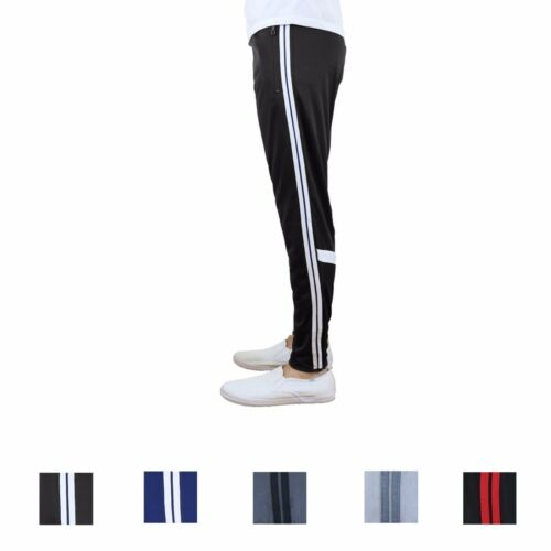 Mens Track Pants Stripe Jogger Moisture Wicking Active Training Cross Fit Run