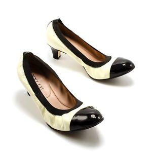 ANYI LU Womens Sz 38.5 Tan Black Patent Leather Cap Toe Elastic ...