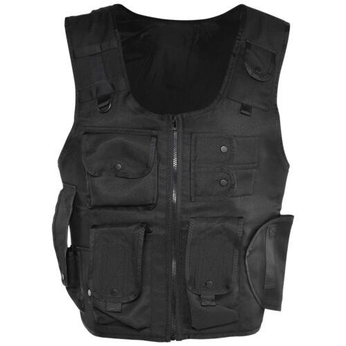 Adult Black Police FBI SWAT Pocket Army Vest Bullet Proof Fancy Dress Costume