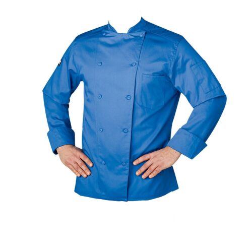 NEW CHEFWEAR WOMEN/'S ORGANIC COTTON TRADITIONAL CHEF COAT ROYAL BLUE