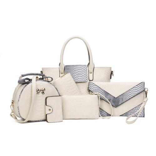 Fashion Femmes Sac à Main Bandoulière Fourre-tout Messenger sac à main cuir 6pcs//Set