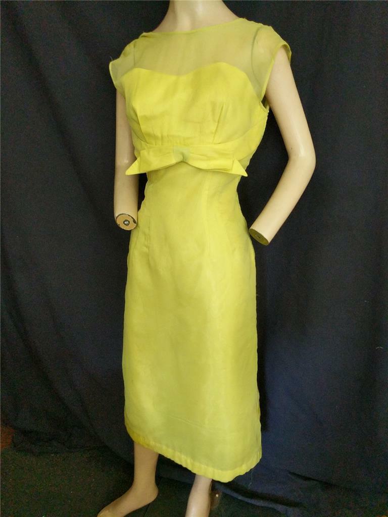 1950's VINTAGE CHARTREUSE NYLON CHIFFON & ACETATE SHEATH WIGGLE DRESS-34
