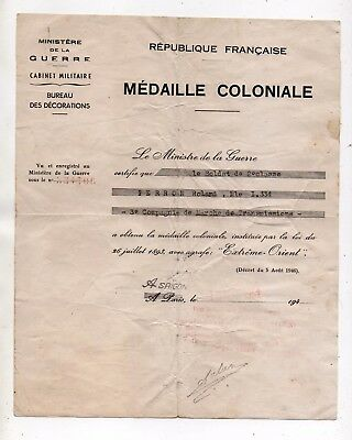 "Other Militaria Collectibles Hearty Diploma Medal Colonial Saigon 1951 ""extrême Orient"" 3° Market Company 100% Original"