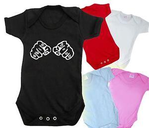 SKINHEAD TATTOO FIST baby grow bodysuit FUNNY CUTE t shirt BNWT ROMPER