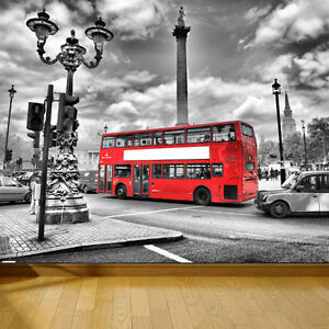 Wallpaper London Bus Taxi Uk Wall Paper 300cm Wide 240cm Tall