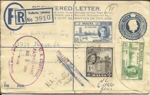 Malta Registered Postal Env-hg:c8 Uprated Sg#233,#268,#232-valletta Ventes Pas ChèRes 50%