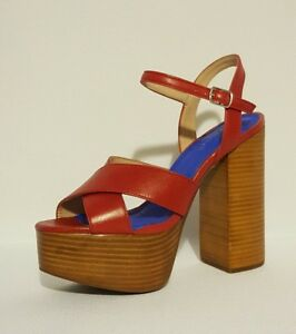 JEFFREY LEATHER CAMPBELL RRP£140 ROT GENUINE LEATHER JEFFREY SANDALS HEELS PLATFORM ... 2620b1
