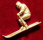 Pewter Downhill Skier Ski Brooch Pin  Signed