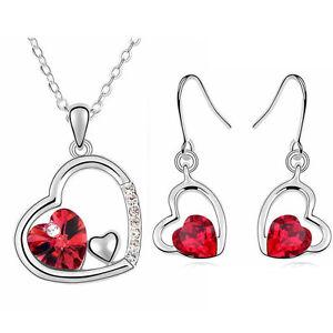 Rouge-Coeurs-Set-Bijoux-Boucles-D-039-Oreilles-Goutte-amp-Collier-avec-Pendentif-S363