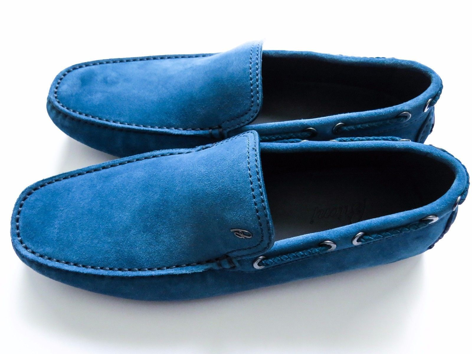 750 BRIONI Light blu Suede scarpe Loafers Moccasins Dimensione 11 US 44 Euro 10 UK