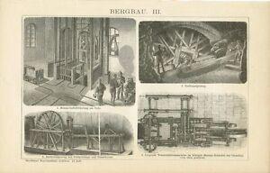 Aufzug Original-holzstich 1894 Radkunstgezeug Humorvoll Tafel Bergbau
