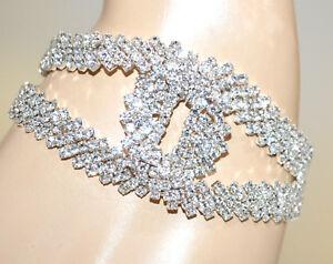 621a434bac5871 Caricamento dell'immagine in corso BRACCIALE-argento-strass-donna-cristalli -sposa-matrimonio-cerimonia-